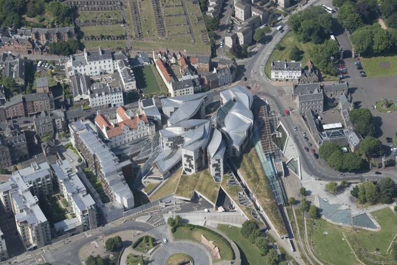 Oblique aerial view of the Scottish Parliament, looking NNW.