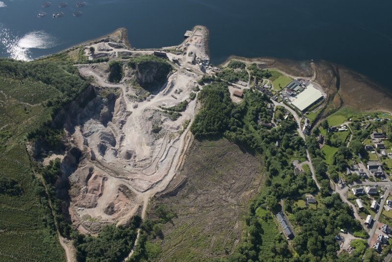 Oblique aerial view of the granite quarry, looking SE.