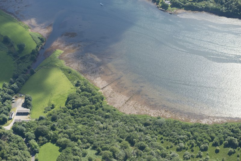Oblique aerial view of the intertidal walls, looking E.