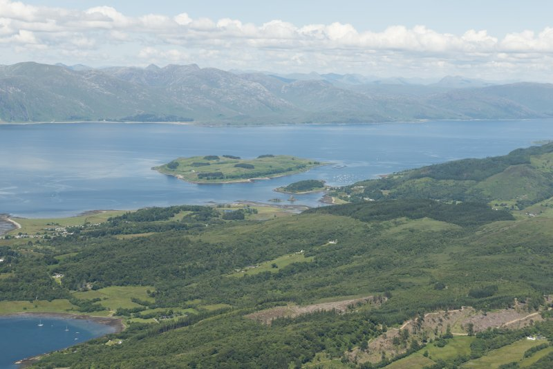 General oblique aerial view of Portnacroish, Loch Linnhe, looking NNW.