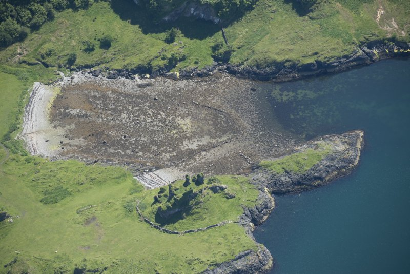 Oblique aerial view of the fish trap and Castle Coeffin, looking SE.