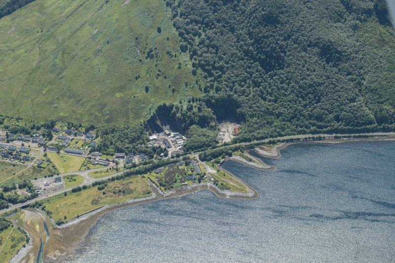 Oblique aerial view of Ballachulish, looking SW.