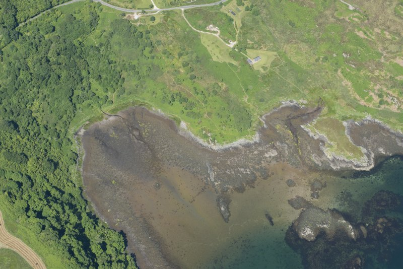 Oblique aerial view of the fish trap, looking NNE.