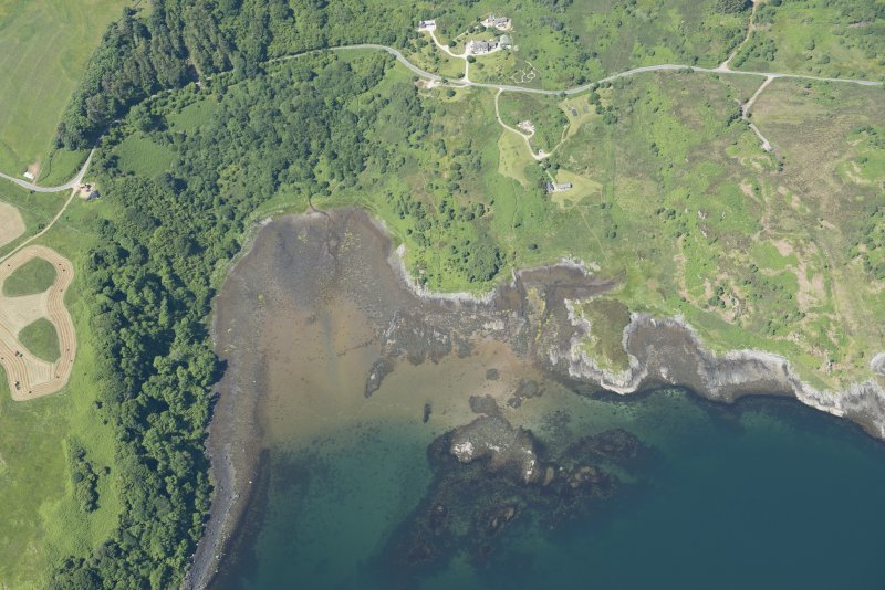 Oblique aerial view of the fish trap, looking N.