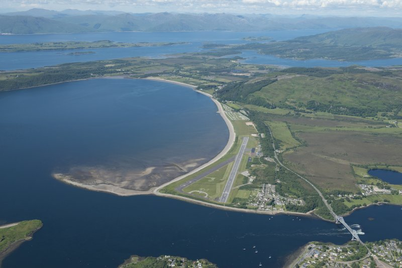 Oblique aerial view of Connel Airfield, looking N.