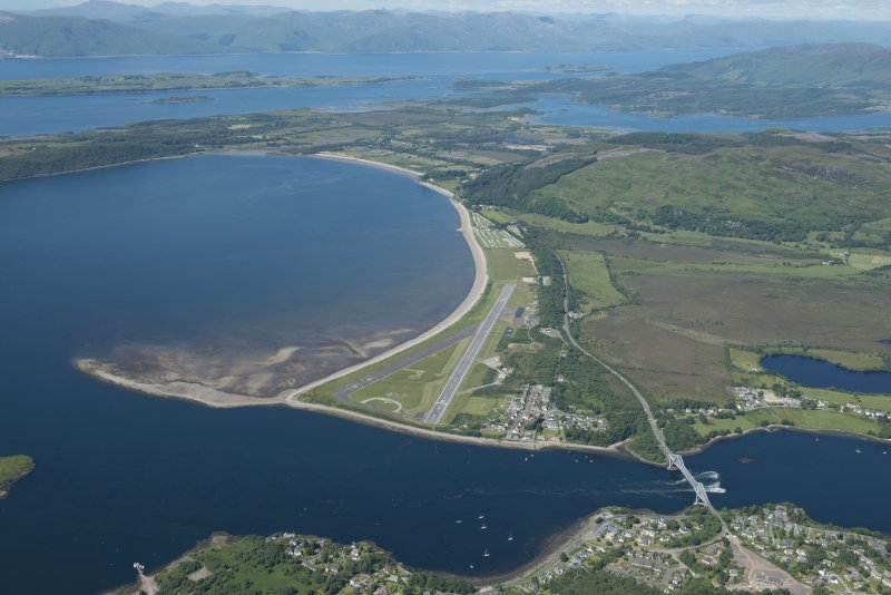 Oblique aerial view of Connel Airfield, looking NNW.