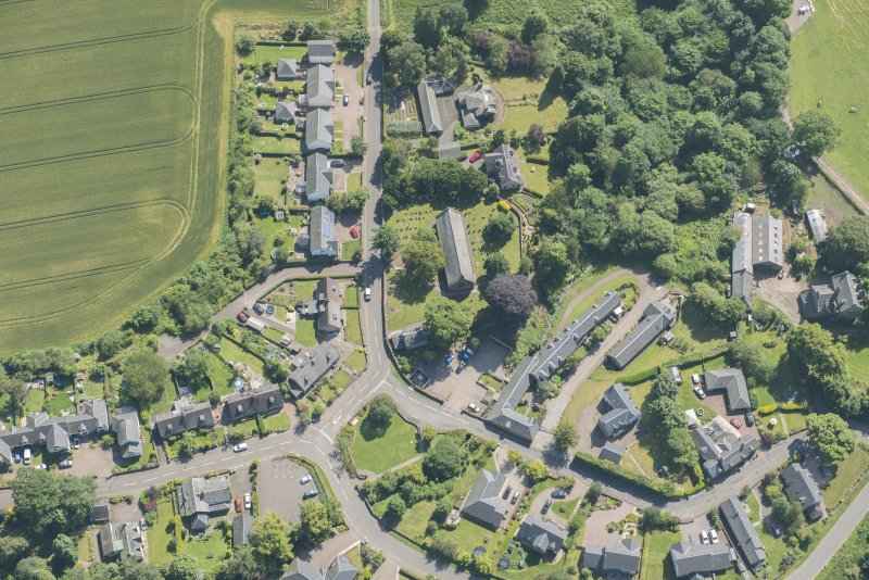 Oblique aerial view of Fowlis Easter, looking ESE.