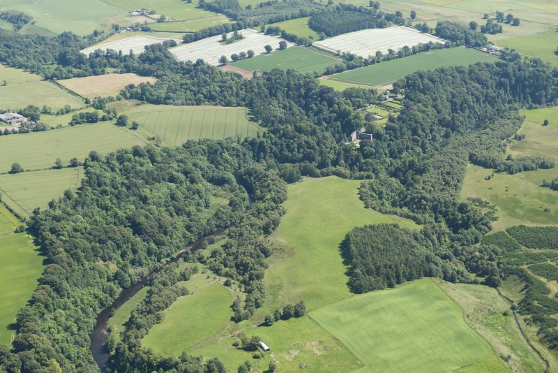 General oblique aerial view of Airlie Castle and policies, looking E.
