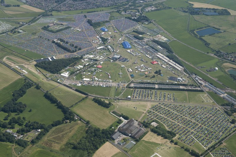 General oblique aerial view of T in the Park, looking SSE.