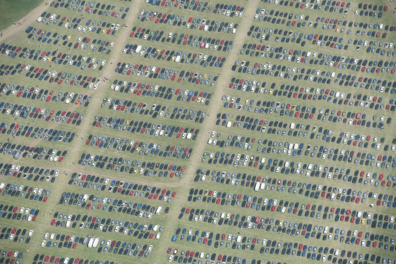 Oblique aerial view of car parking at T in the Park.