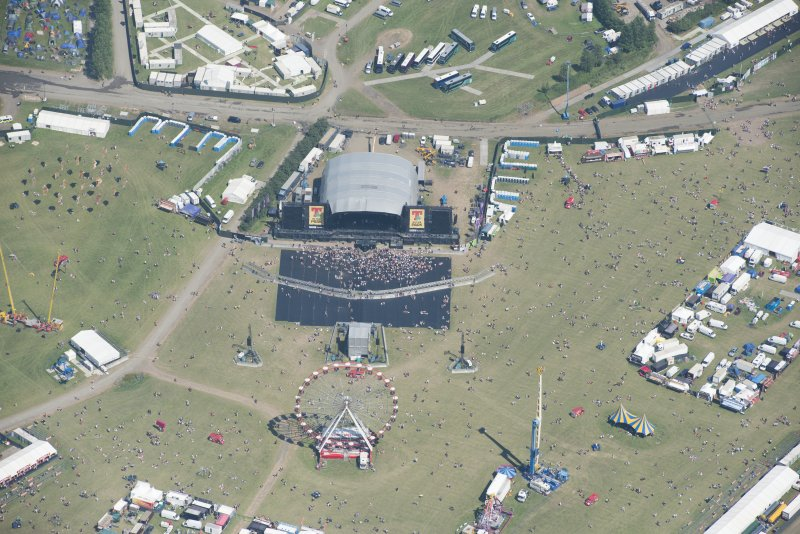 Oblique aerial view of T in the Park centred on the Main Stage, looking ENE.