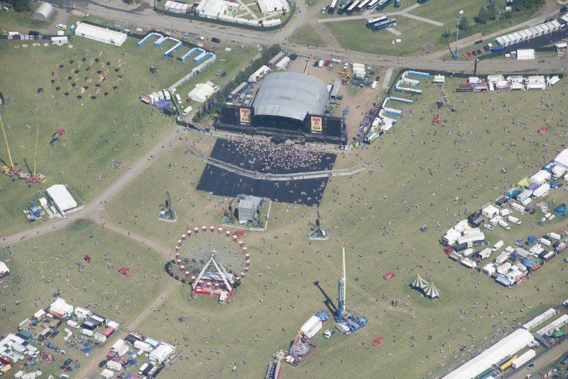 Oblique aerial view of T in the Park centred on the Main Stage, looking NE.