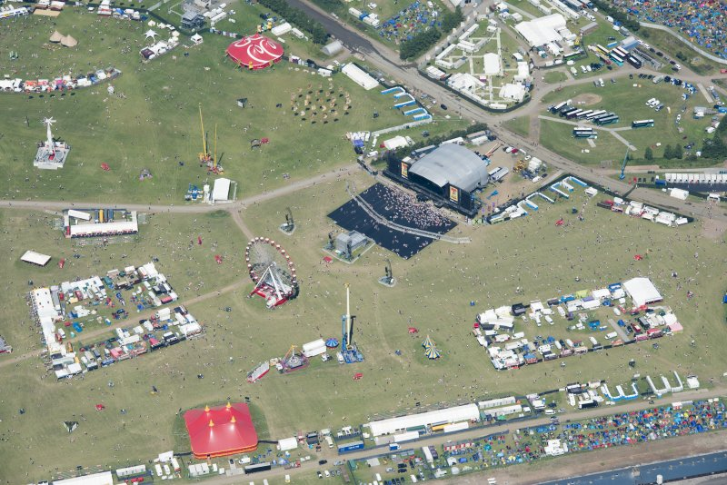 Oblique aerial view of T in the Park centred on the Main Stage, looking NNE.