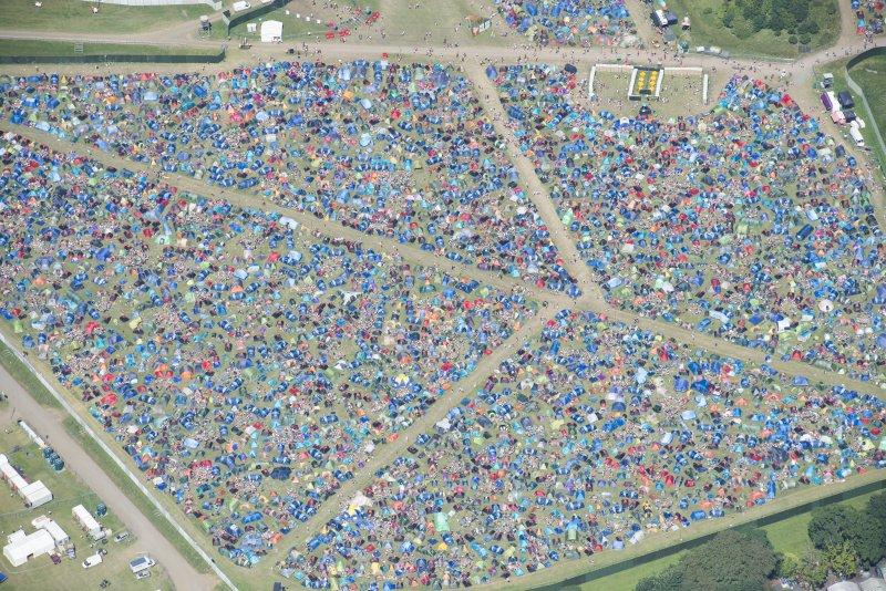 Oblique aerial view of camping at T in the Park.