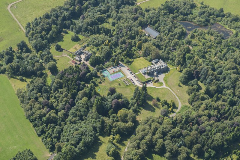 Oblique aerial view of Cromlix House, looking W.
