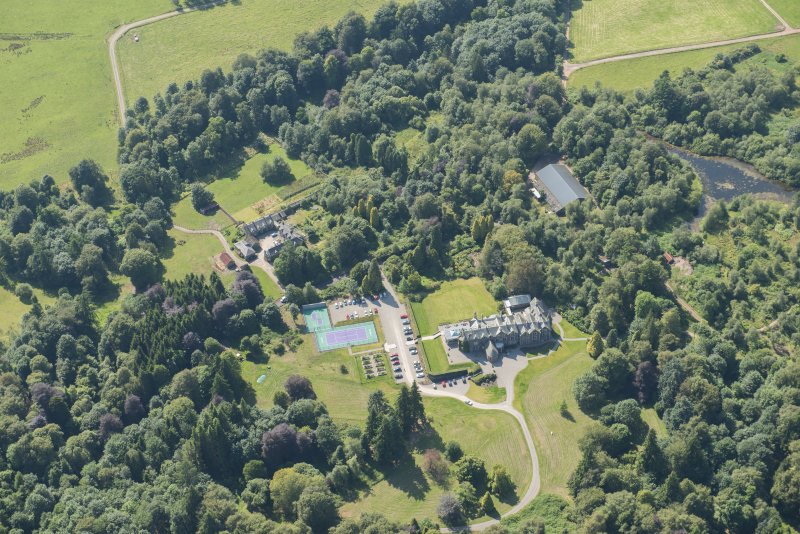 Oblique aerial view of Cromlix House, looking WSW.