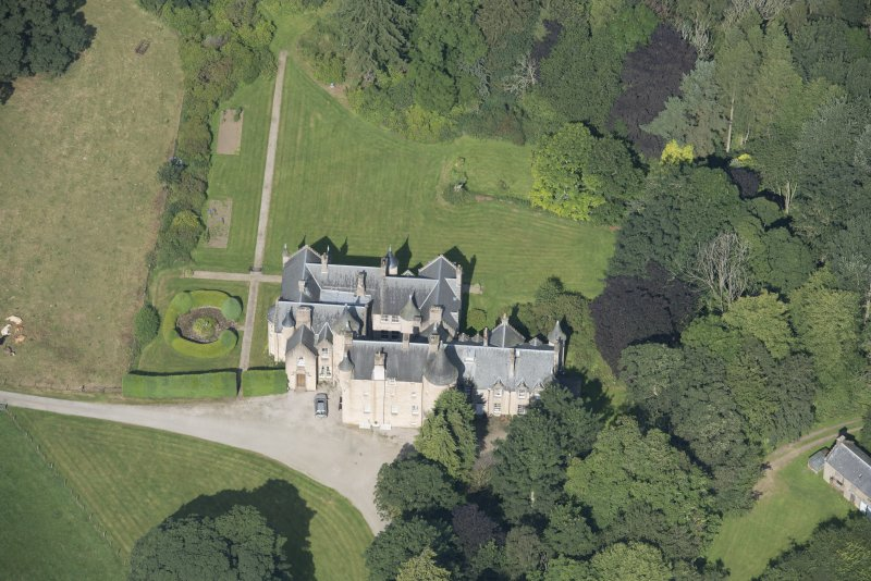 Oblique aerial view of Pitcaple Castle, looking WNW.