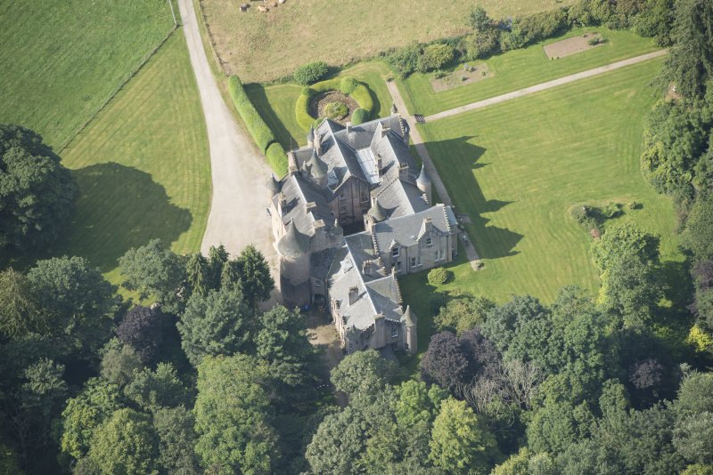 Oblique aerial view of Pitcaple Castle, looking SW.