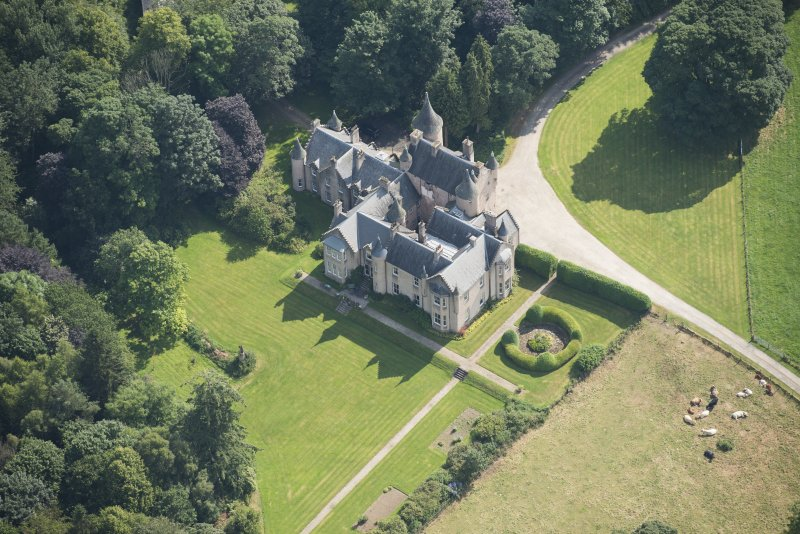 Oblique aerial view of Pitcaple Castle, looking E.