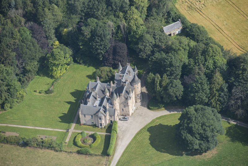 Oblique aerial view of Pitcaple Castle, looking NNE.