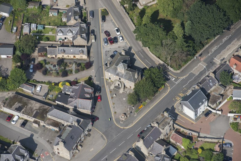 Oblique aerial view of Kintore Town House, looking WNW.