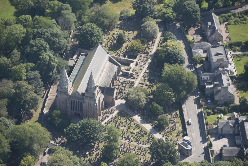 Oblique aerial view of St Machar's Cathdral and churchyard, looking ENE.