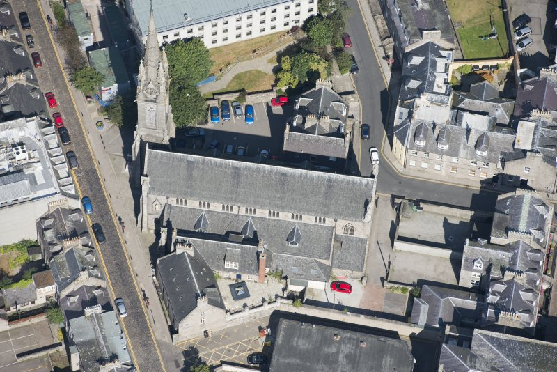 Oblique aerial view of St Mary's Roman Catholic Cathedral, looking NW.