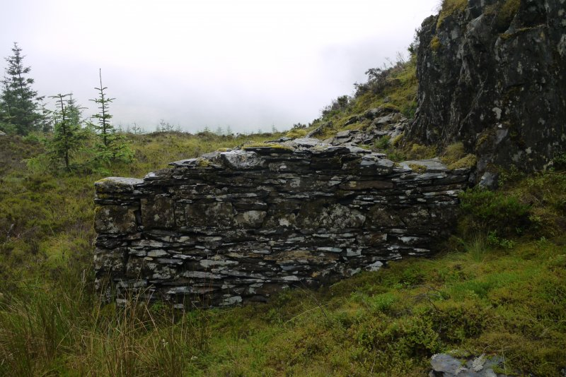 View of outbuilding of drystone slate construction from north