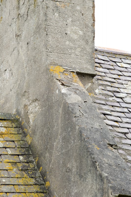 Detail of notch at base of chimney at north end of original block of south east range