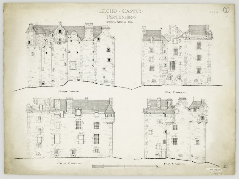 "Elevations of Elcho Castle.  Insc: ""Existing remains 1869"""