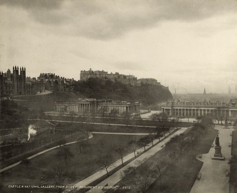 View of Edinburgh Castle and the National Gallery of Scotland from from NE.