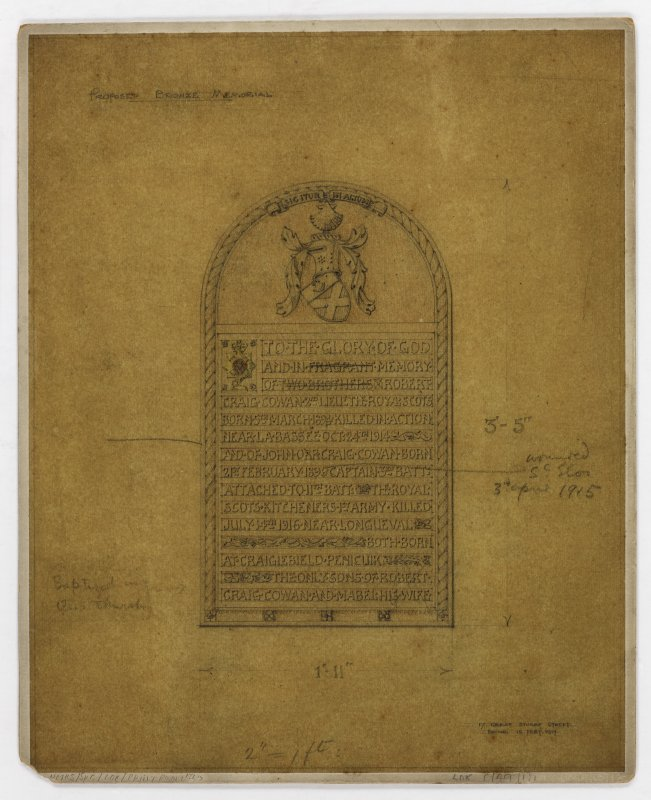 Robert and John Craig-Cowan memorial. Mounted drawings of memorial panel.