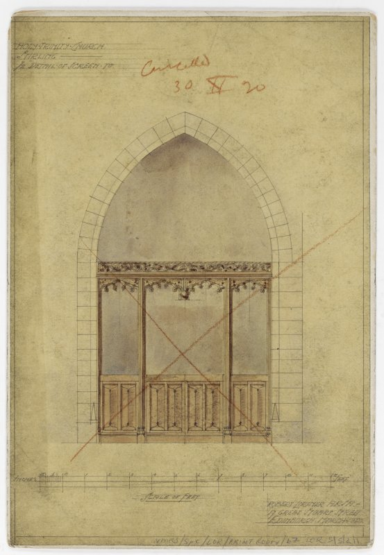 Mounted perspective sketches of screen and memorial screen.