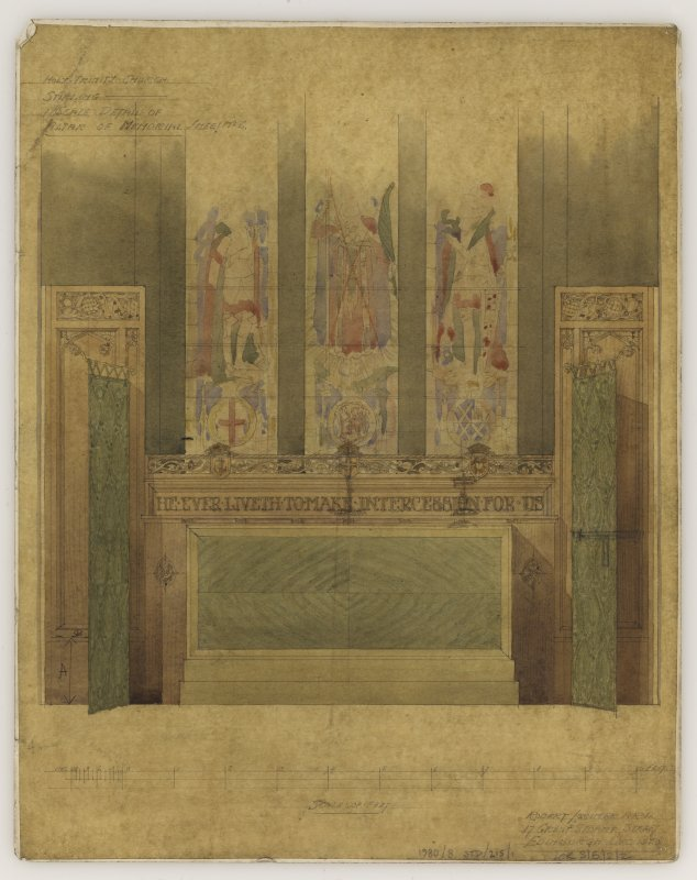 Mounted perspective sketches of screen and memorial screen, Holy Trinity Episcopal Church, Stirling.