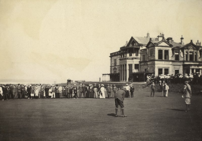 View of Mr V Pollock putting on Medal Day at the Old Course in St Andrews.