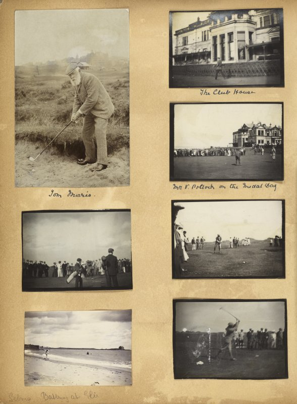 Seven photographs showing golfers in St Andrews, including Tom Morris.