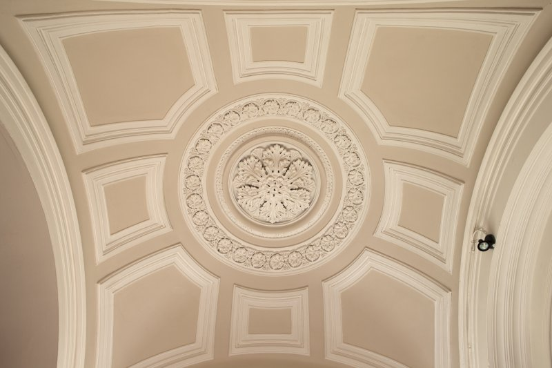 1st floor. Corridor. Detail of ceiling outside members' lounge.
