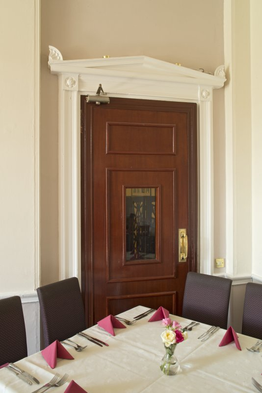 1st floor. Dining room. Detail of decorative overdoor.