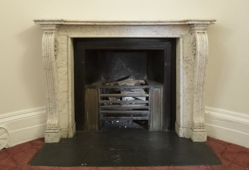 1st floor. Corridor. Detail of fireplace.