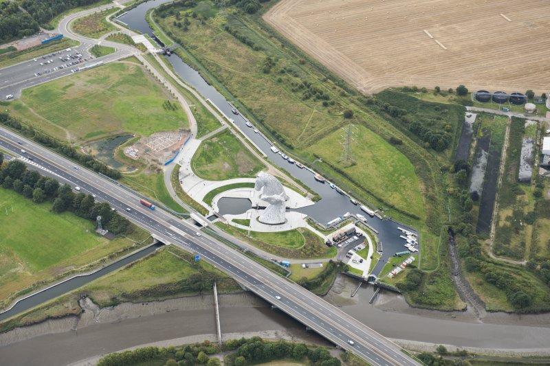 Oblique aerial view of The Kelpies, looking S.