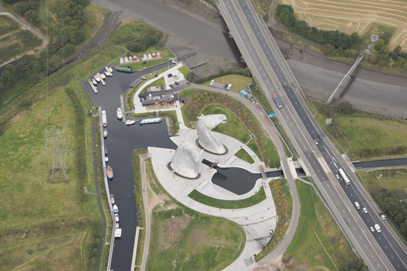 Oblique aerial view of The Kelpies, looking NNW.