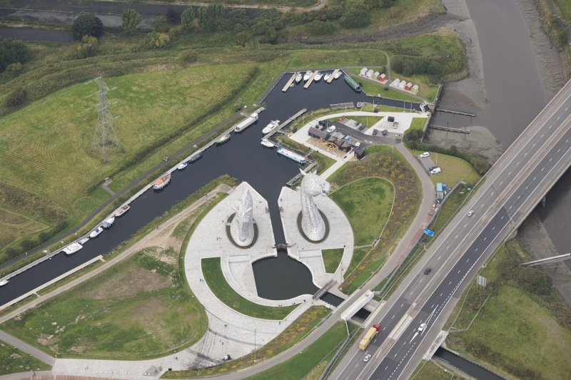 Oblique aerial view of The Kelpies, looking WNW.