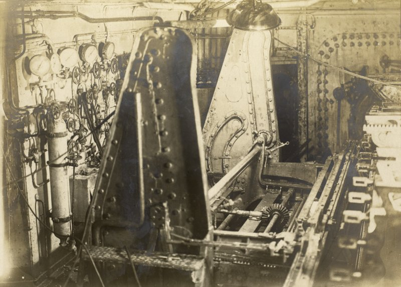 "German battleship SMS Baden. Torpedo tube 24"" appx: side loading arrangement."