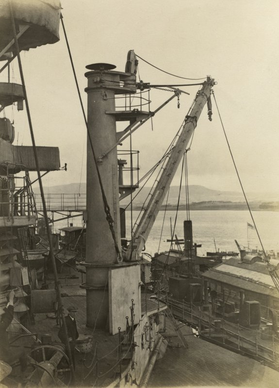 German battleship SMS Baden. Boat Hoist.