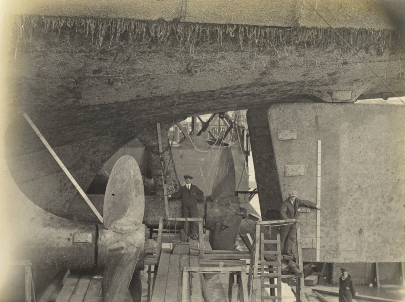 German battleship SMS Baden. Propellers and rudders. 3 Screws, 2 Rudders, 3 Bladed Propellers (secured by bolts to boss). Mr Goodhall (Contractor).
