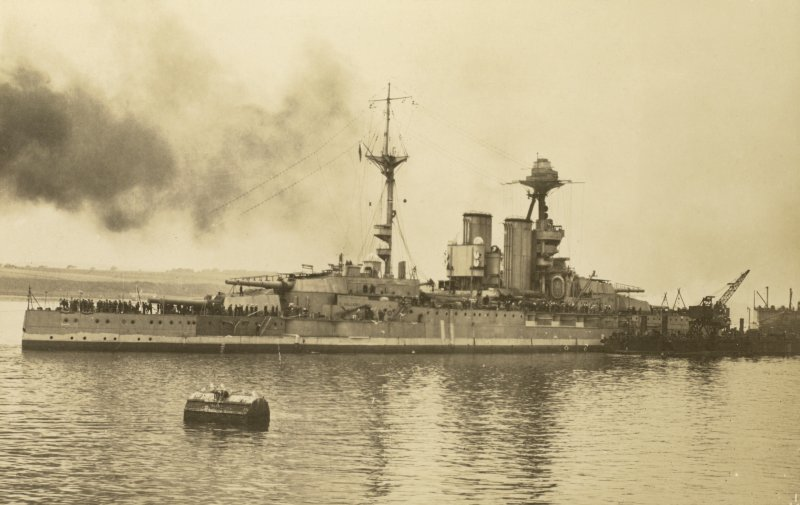British battleship HMS Valiant leaving dock