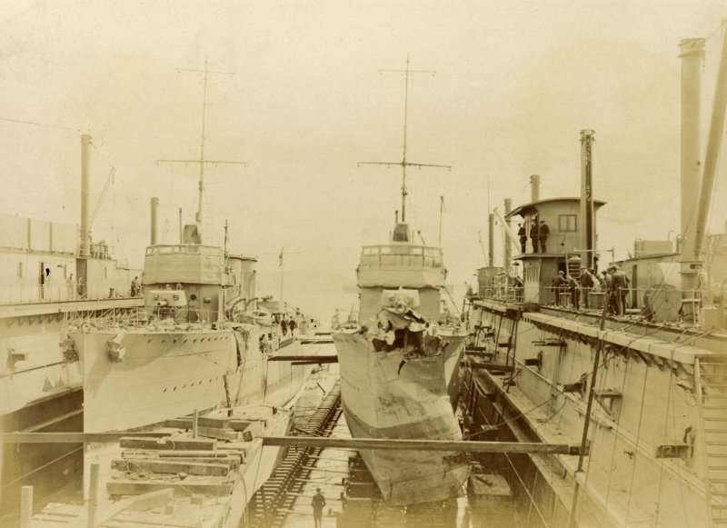 British destroyer HMS Marvel and British destroyer HMS Menace in dock