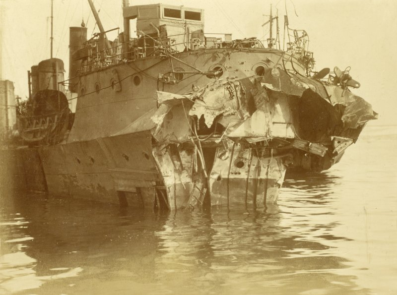 British destroyer HMS Albacore after being mined. 27 lives lost.