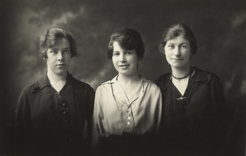 "Photograph of three women captioned: ""Nan"" ""Bunty"" ""Mrs. Oliver"""