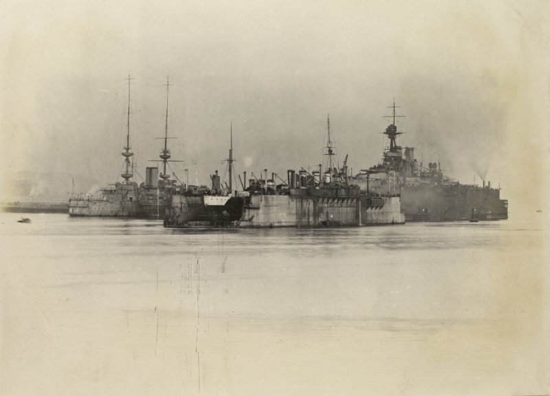 British ships HMS Mars, HMS Fearless and HMS King George V